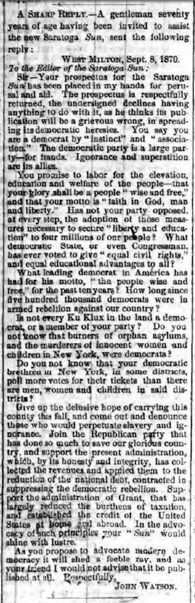 JOHN WATSON - A SHARP REPLY 8 Sep 1870