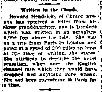 WOOD, Anita-HENDRICKS Written in the clouds - Freeman 23 Aug 1921