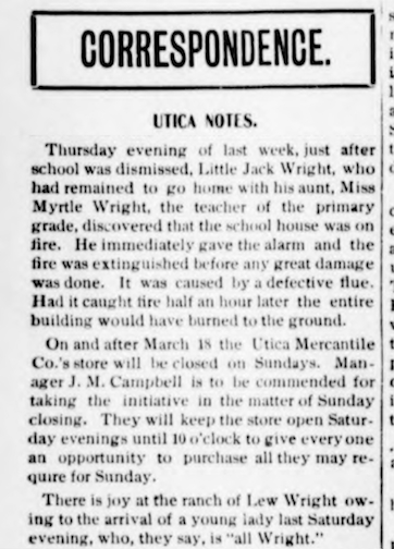 Birth-Opal Wright Fergus Co Argus 28 Feb 1900